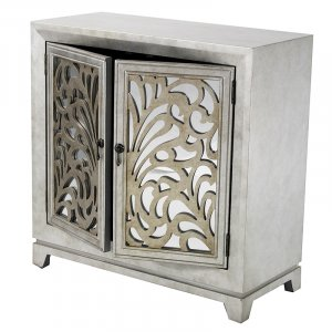 """32"""" X 14"""" X 32"""" Antique Silver W  Gold MDF  Wood  Mirrored Glass Sideboard with  Doors and Gold Paint"""