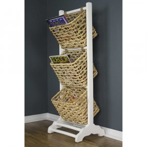 """11.8"""" X 15"""" X 42.25"""" White Wash with Natural Wood Water Hyacinth Magazine Rack with Storage Baskets"""