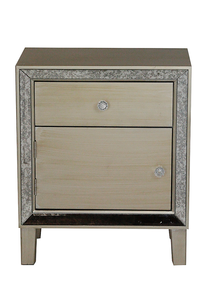 Champagne Wood Accent Cabinet with a Door, a Drawer and Antique Mirrored Glass