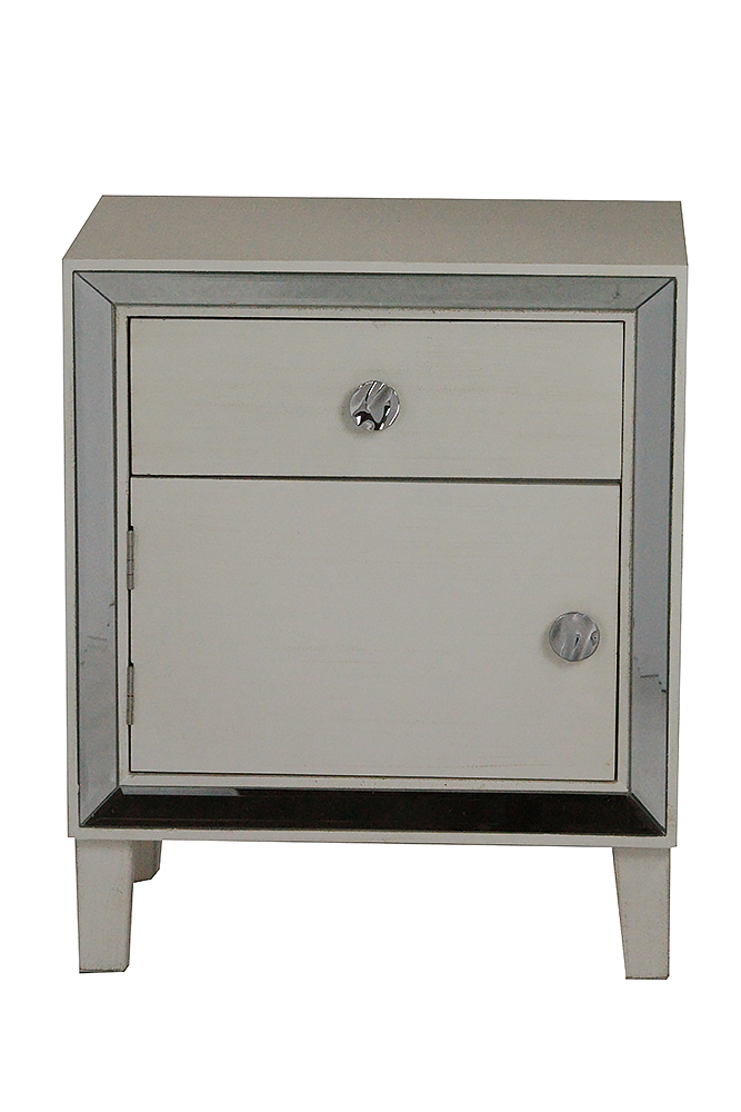 Antique White Wood Accent Cabinet with a Door, a Drawer and Clear Mirrored Glass