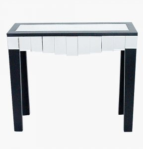 "35.5"" X 13"" X 31"" Black MDF Wood Mirrored Glass Console Table with Mirrored Glass Inserts and a Drawer"