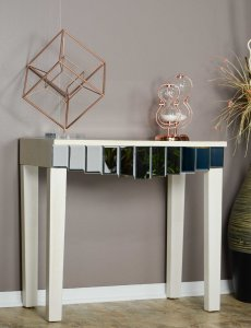 """35'.5"""" X 13"""" X 31"""" Antique White MDF, Wood, Mirrored Glass Console Table with Mirrored Glass Inserts and a Drawer"""