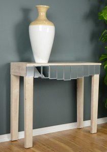 """35'.5"""" X 13"""" X 31"""" White Washed MDF, Wood, Mirrored Glass Console Table with Mirrored Glass Inserts and a Drawer"""