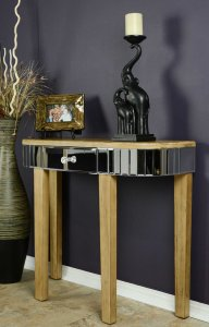 "35.5"" X 13"" X 31"" Distressed Brown MDF Wood Mirrored Glass Console Table with a Mirrored Glass Top and a Drawer"