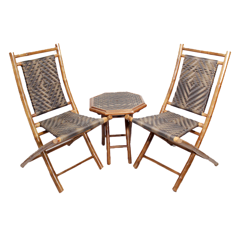 36' Natural and Brown Bamboo Diamond Weave 2 Chairs and a Table Bistro Set