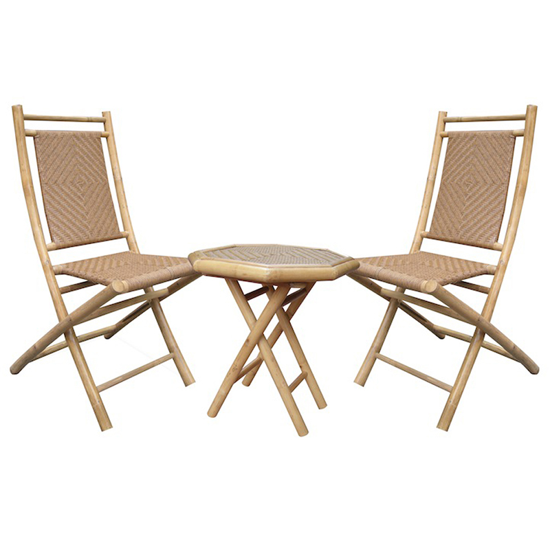 36' Natural and Tan Bamboo Diamond Weave 2 Chairs and a Table Bistro Set