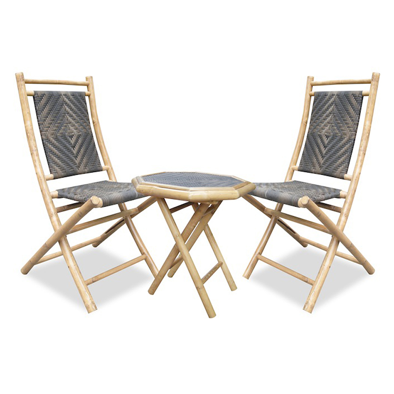 36' Natural Bamboo Resin Weave 2 Chairs and a Table Bistro Set