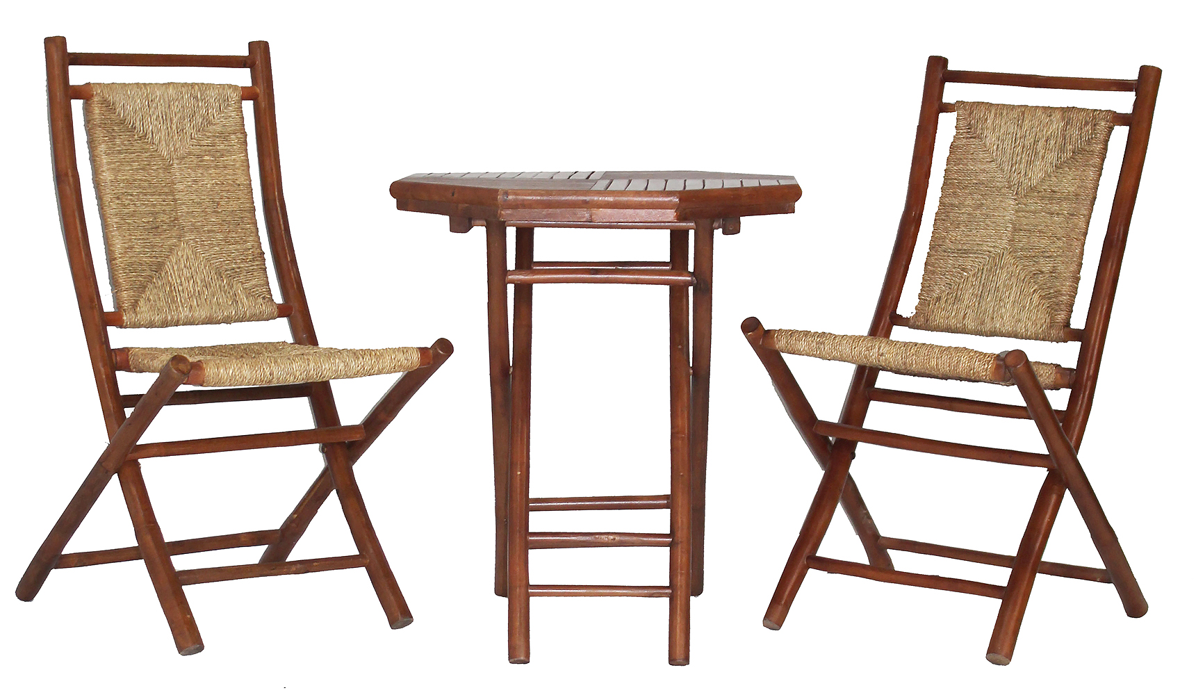36' Brown Sea Grass Weave set of 2 Chairs and a Table