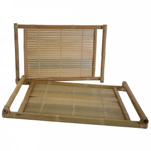 Set of 2 Natural Bamboo Nesting Trays