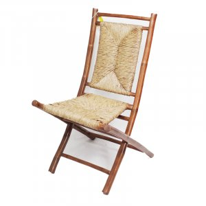 Set of 2 Brown and Natural Bamboo Folding Dining Chairs with Seagrass Triangle Weave