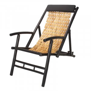 "24"" X 45"" X 27'.5"" Black/Natural Bamboo Folding Sling Chair"