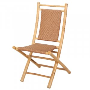 Set of 2 Natural Bamboo Folding Dining Chairs with Polyrattan Diamond Weave