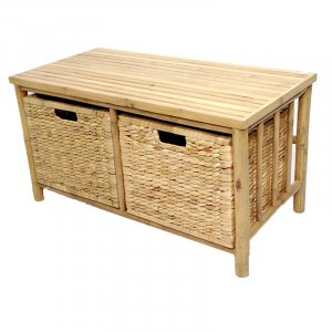 """31.5"""" X 15.5"""" X 16.75"""" Natural Bamboo Storage Bench with Baskets"""
