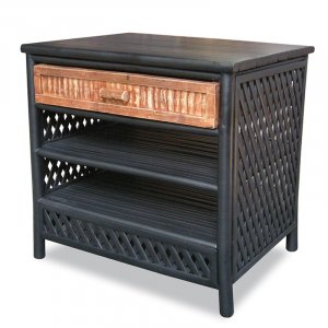 """23'.5"""" X 19"""" X 23"""" Black/Brown Bamboo End Table with a Drawer and  Shelves"""