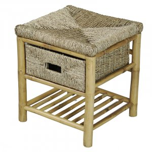 "17"" X 16"" X 18"" Natural Bamboo Frame Storage Stool with a Shelf and a Basket"