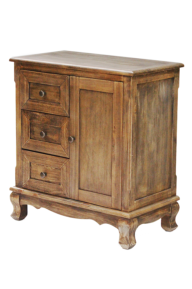 """30"""" Rustic Wood Accent Cabinet with 3 Drawers and a Door"""