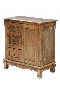 """27.6"""" X 15"""" X 30"""" Rustic Wood Wood Pine Accent Cabinet with Drawers and a Door"""