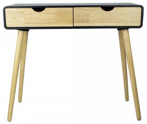 Modern Flair Black and Natural Two Drawer Console Table