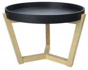 "22"" X 22"" X 16"" Black MDF, Wood Coffee Table"
