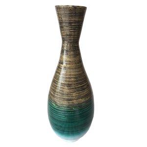 "28"" High Distressed Aqua Spun Bamboo Artisan Floor Vase"