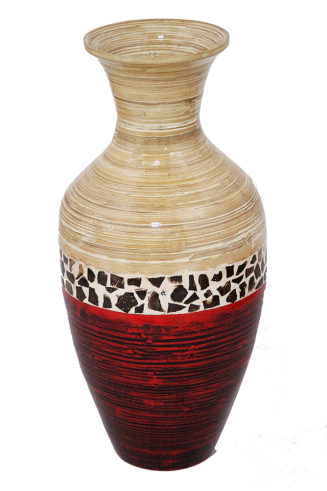 """25"""" Spun Bamboo Floor Vase - Bamboo In Natural Bamboo And Metallic Red W/ Coconut Shell"""