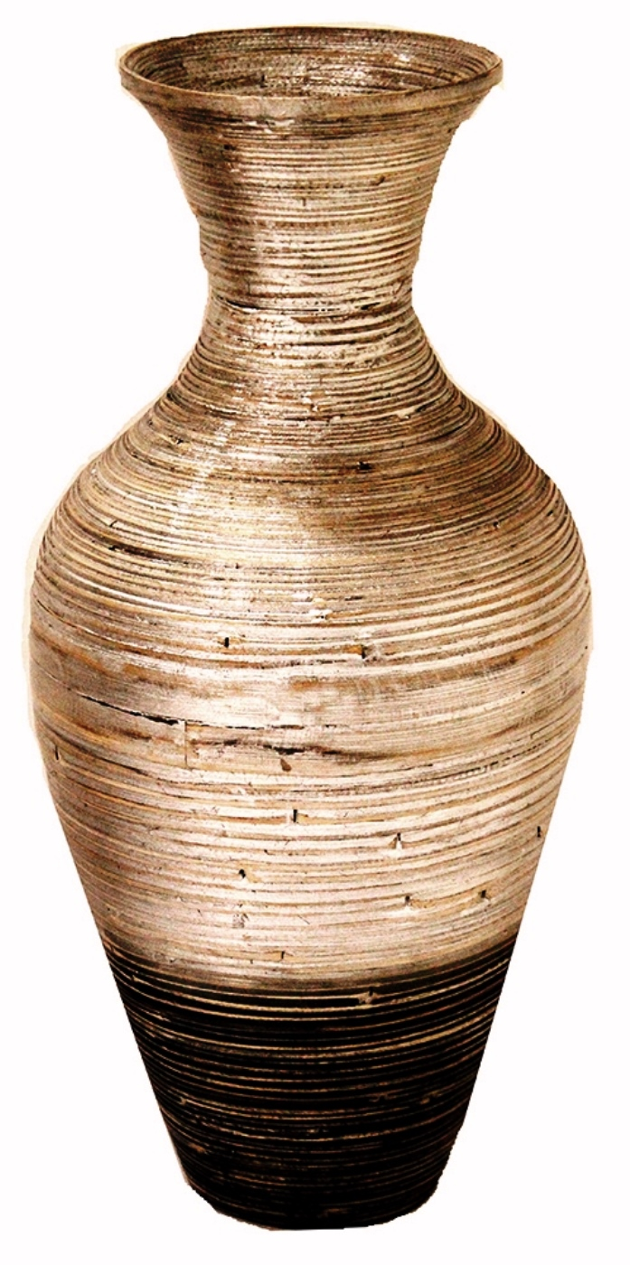 """25"""" Spun Bamboo Floor Vase - Bamboo In Silver And Black"""