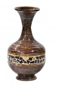 Zoe Distressed Dark Brown with Coconut Shell Spun Bamboo Vase
