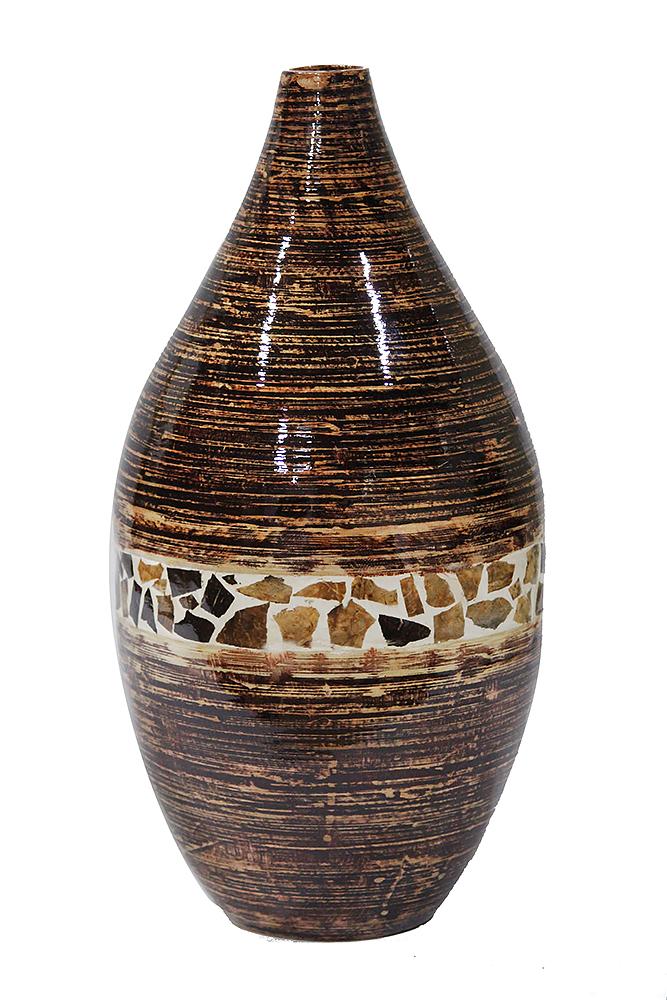 20 Spun Bamboo Vase - Bamboo In Distressed Brown