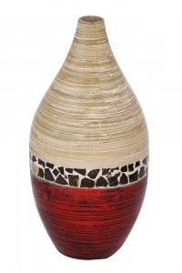 "10"" X 10"" X 20"" Natural Bamboo And Metallic Red W/ Coconut Shell Bamboo Spun Bamboo Vase"