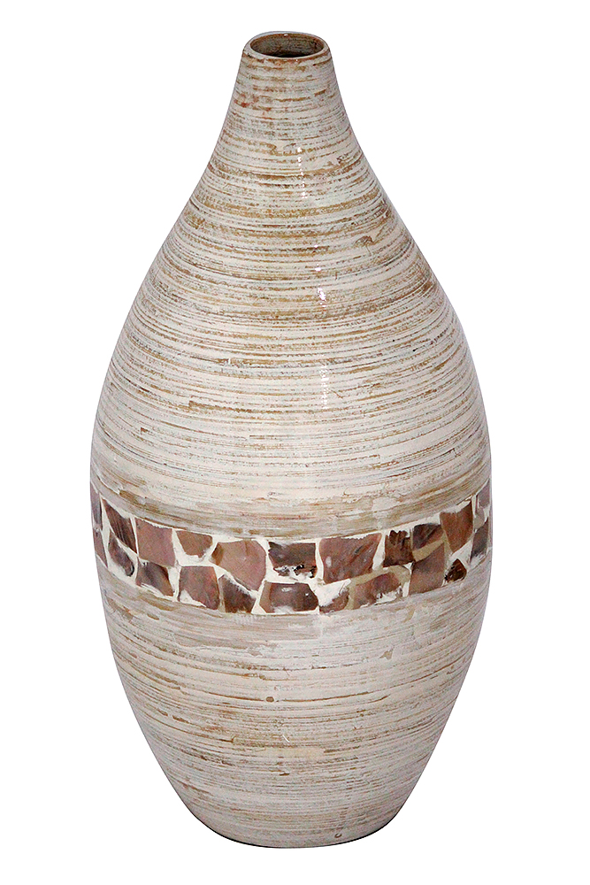 20 Spun Bamboo Vase - Bamboo In Distressed White W/ Coconut