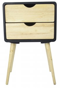 """16"""" X 12"""" X 26"""" Black MDF, Wood End Table with  Drawer"""