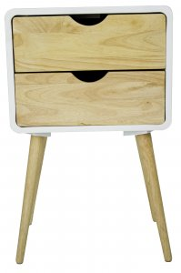 """16"""" X 12"""" X 26"""" White MDF, Wood End Table with  Drawer"""
