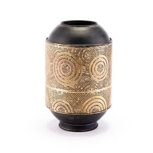 """8.3"""" X 8.3"""" X 13"""" Small Antique Gold Candle Holder"""