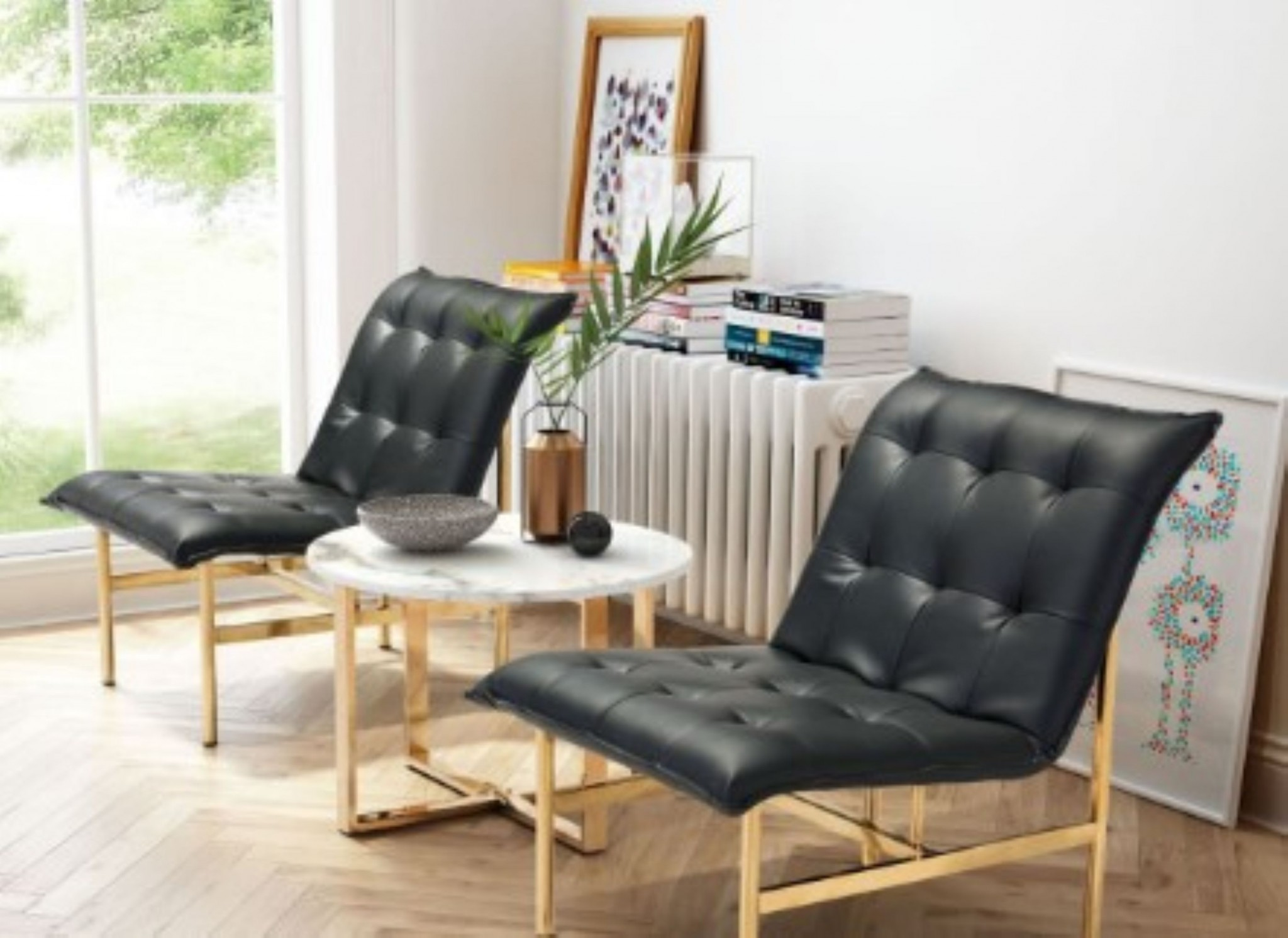 Chair Black & Gold - Leatherette Stainless Steel
