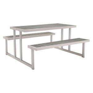 """23.6"""" X 23.6"""" X 37.4"""" Grey Chrome Table"""