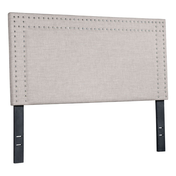 "57.1"" X 3"" X 46.9"" Full Dove Gray Polyester Headboard"