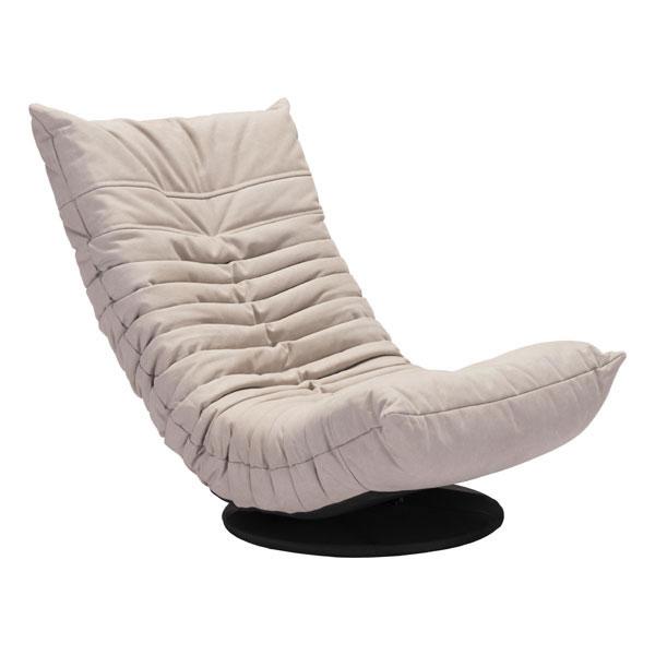 """27.6"""" X 38"""" X 31.5"""" Beige Down Low Swivel Chair"""