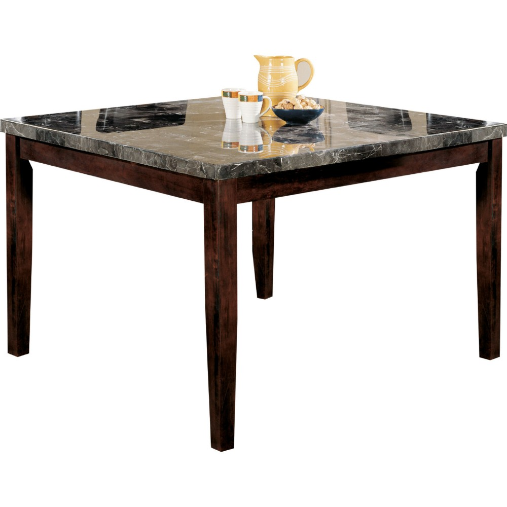 Counter Height Table , Black Marble & Walnut