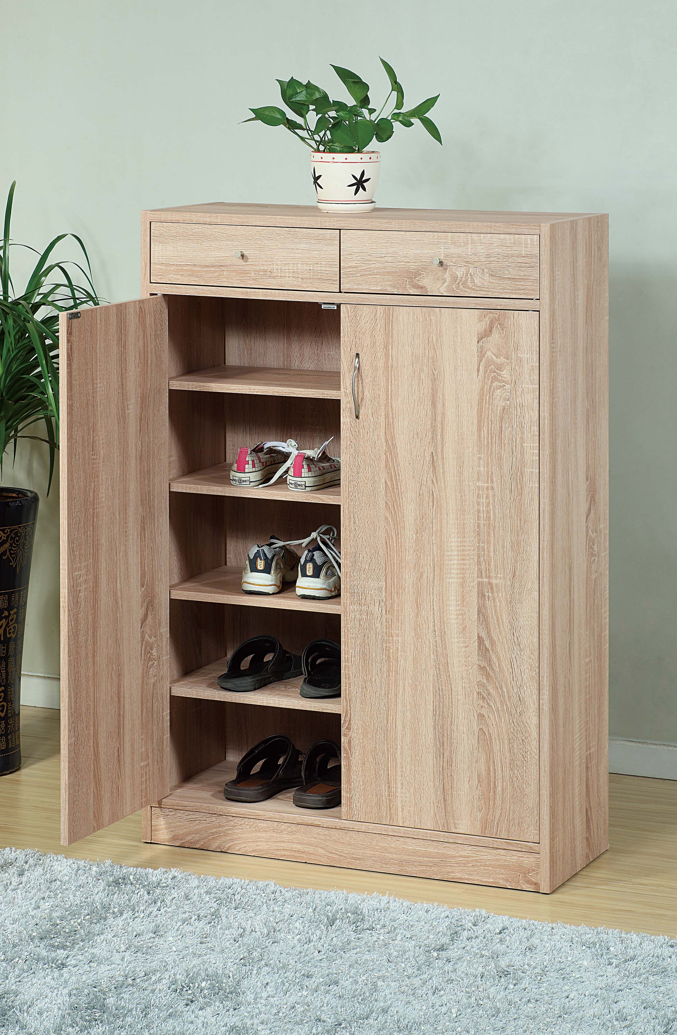 Adorning Shoe Cabinet With Adjustable Shelves, Brown
