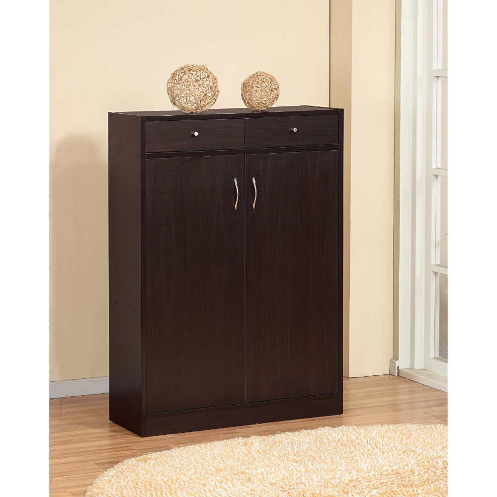 Simplistic Shoe Cabinet With Two Drawers, Brown
