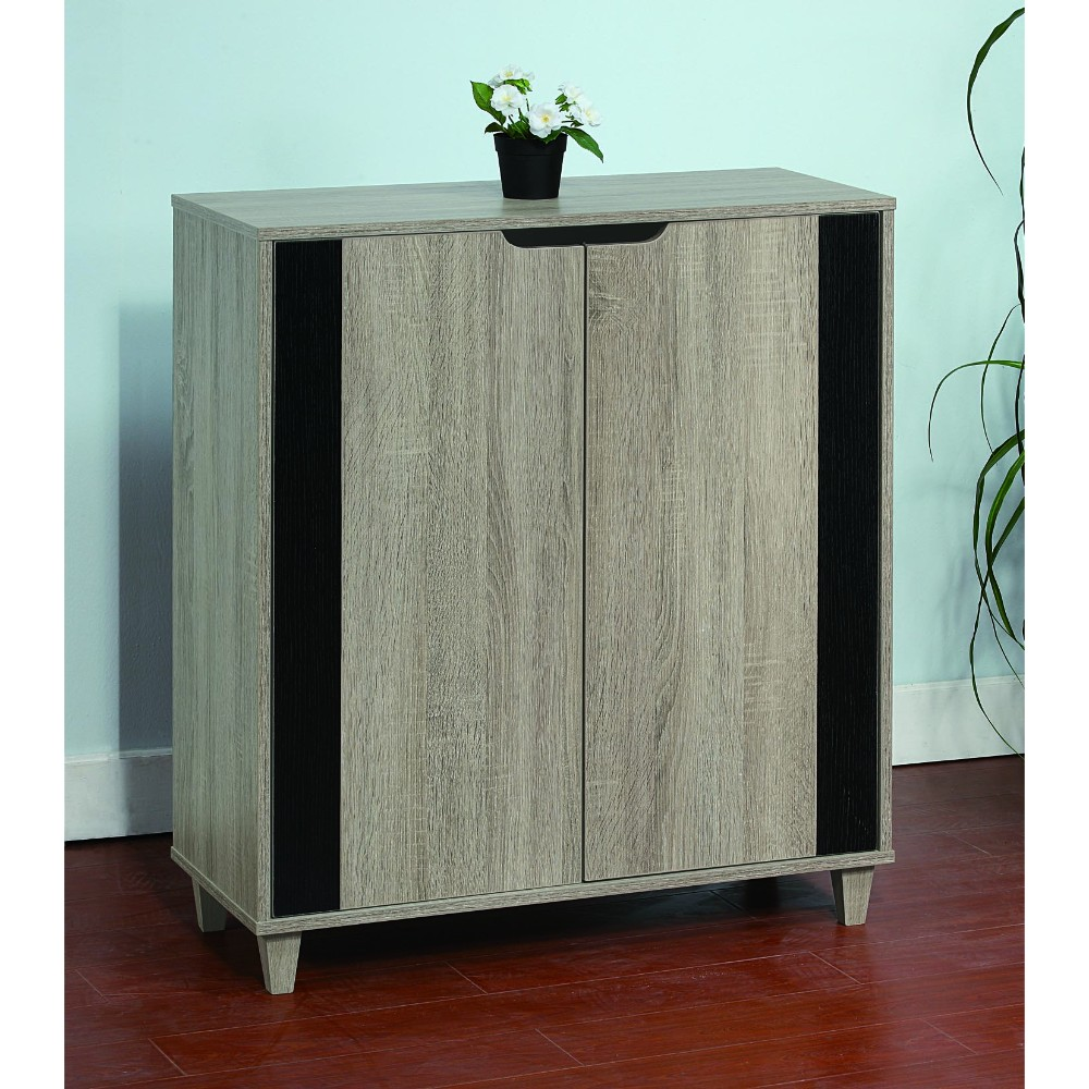 Stylish Shoe Cabinet With Cutout Handles, Black and Gray