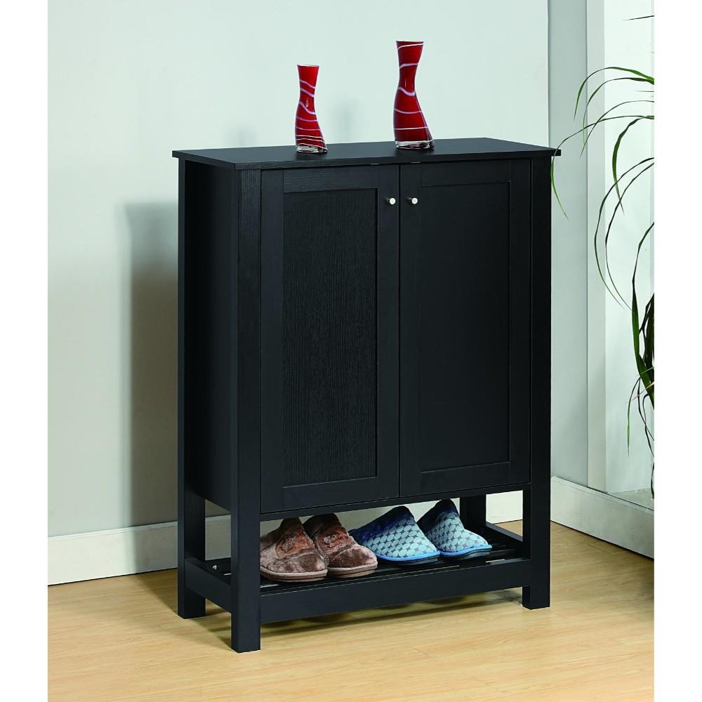 Contemporary Shoe Cabinet With Rack Shelf, Black