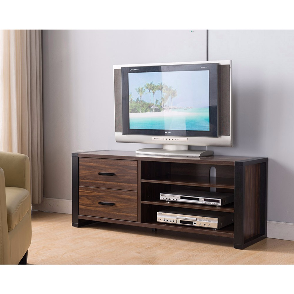 """47"""" Width TV Stand With Frame Design Legs, Black and Dark Brown"""
