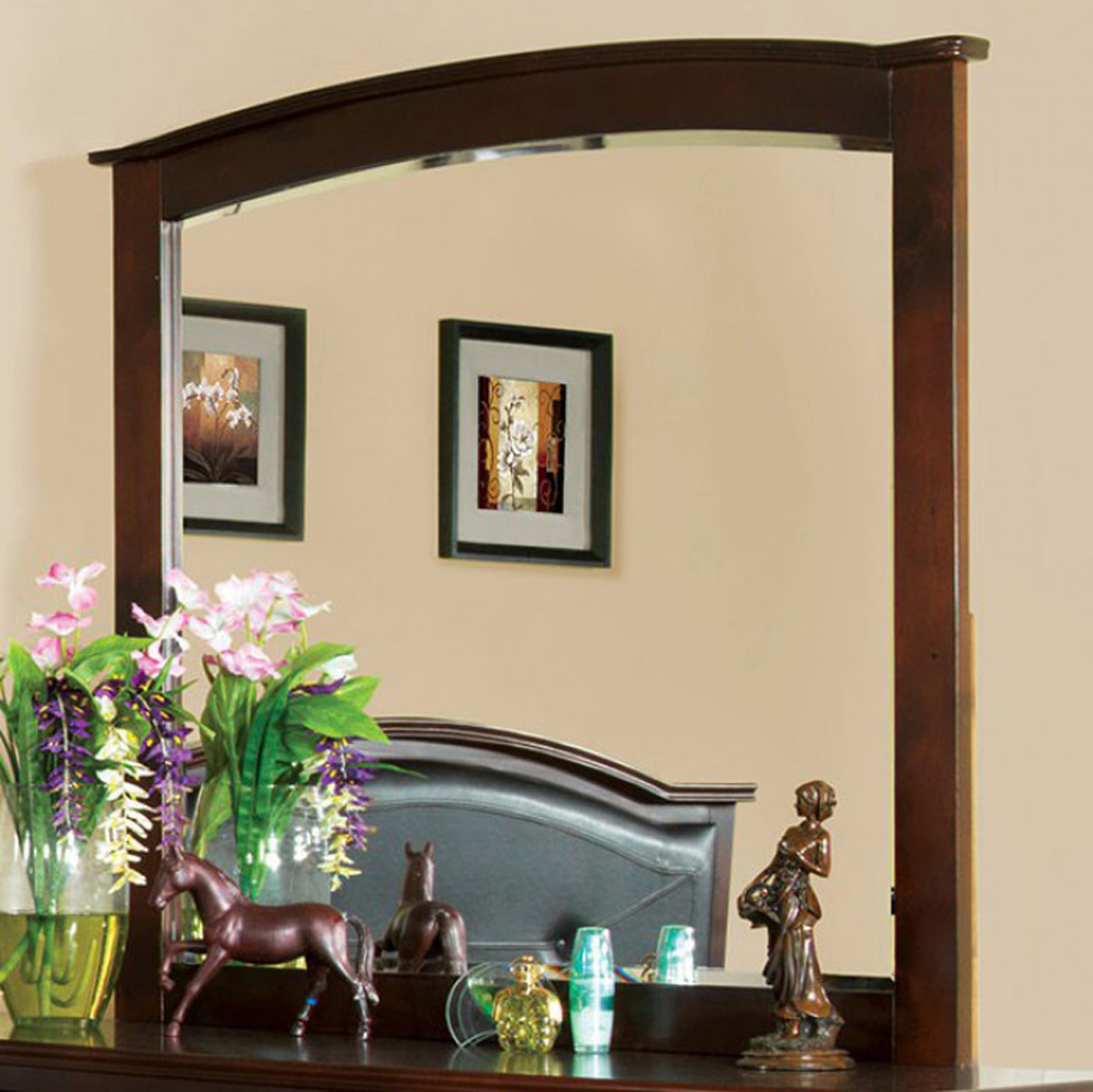 Crest View Contemporary Style Mirror In Brown Cherry Finish