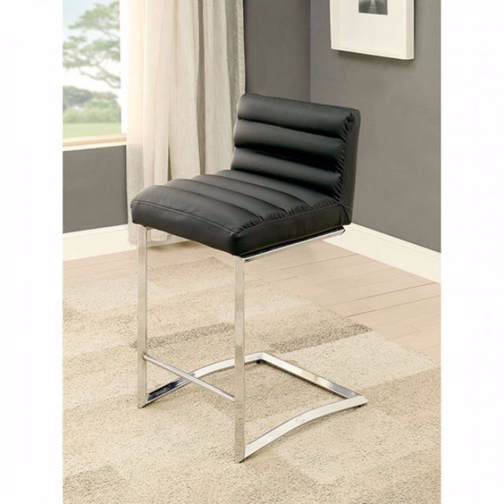 Contemporary Counter Height Chair, Black, Set Of 2