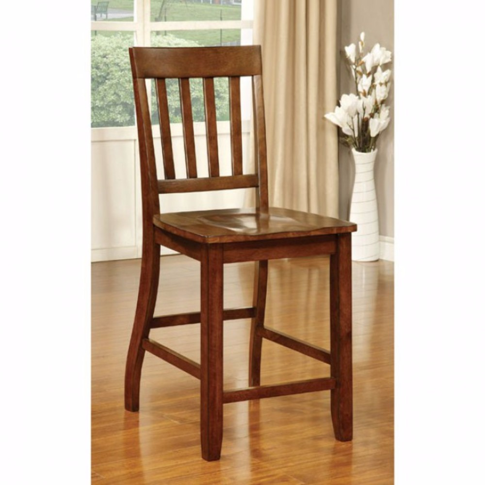 Transitional Counter Height Chair, Dark Oak Finish, Set Of 2