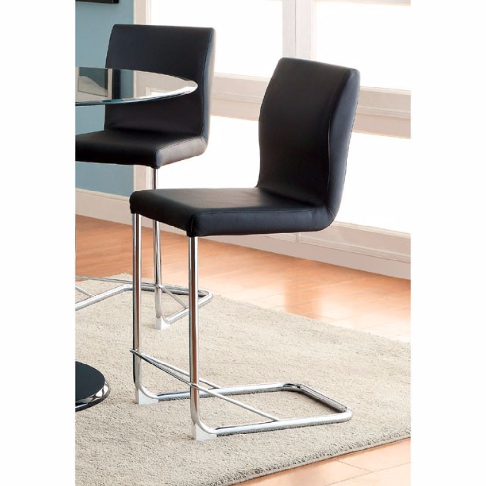 Contemporary Counter Height Chair With Black Pu, Set Of 2