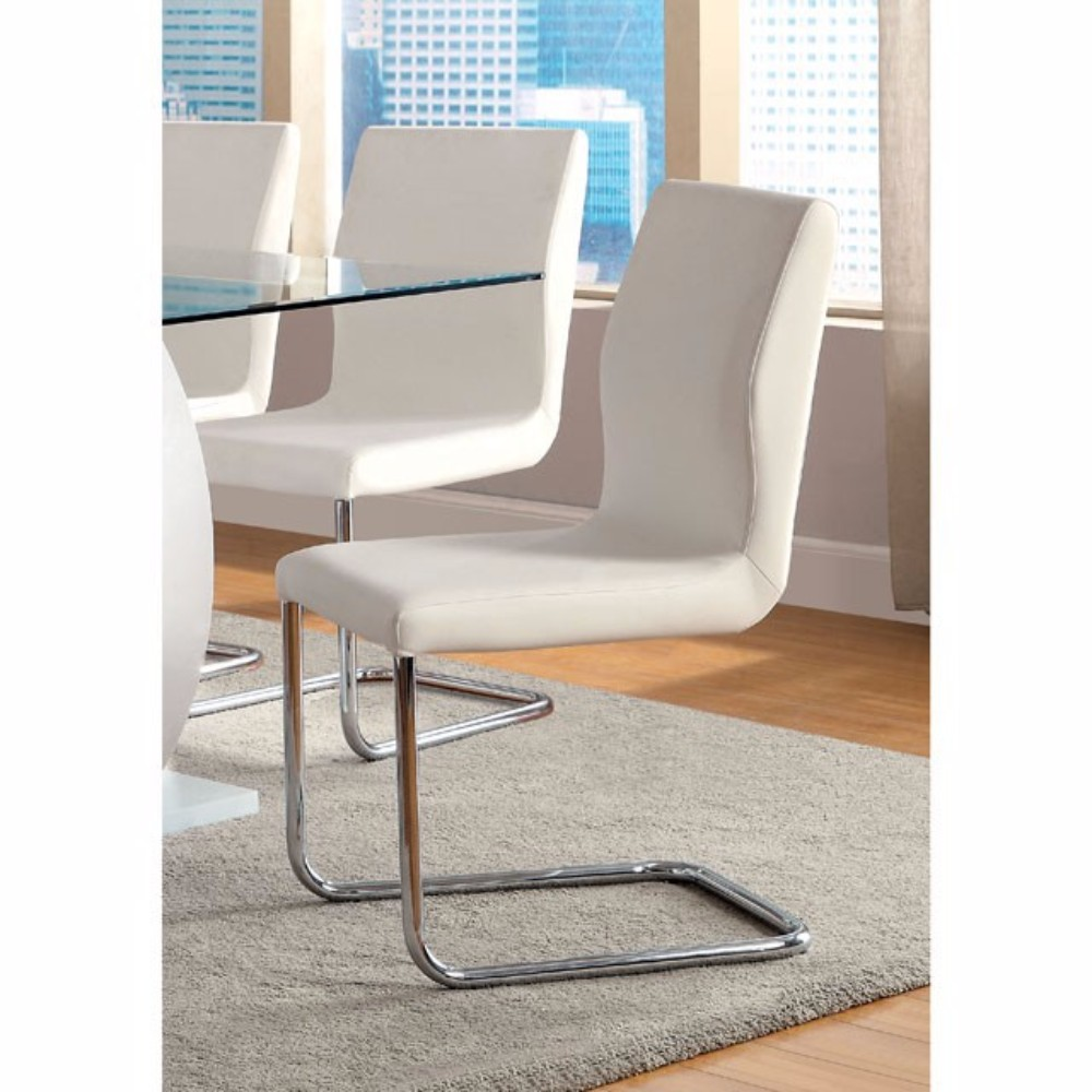 Contemporary Side Chair Withwhite Pu, Set Of 2