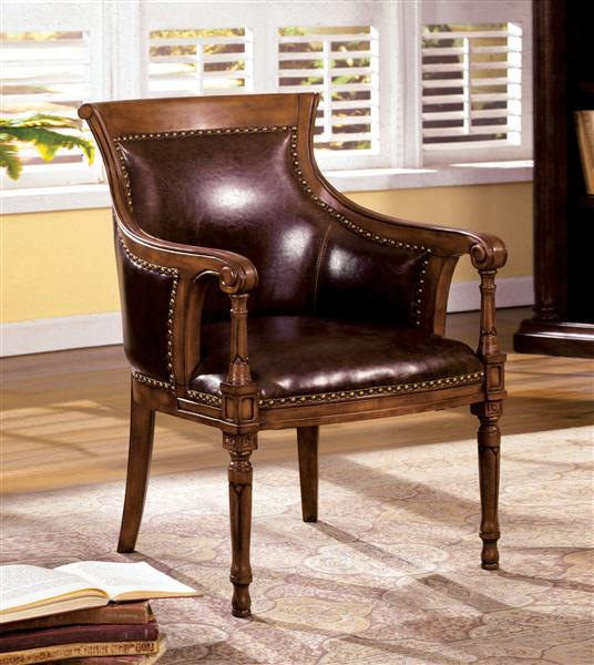 Traditional Kirklees Accent Chair Bonded Leather
