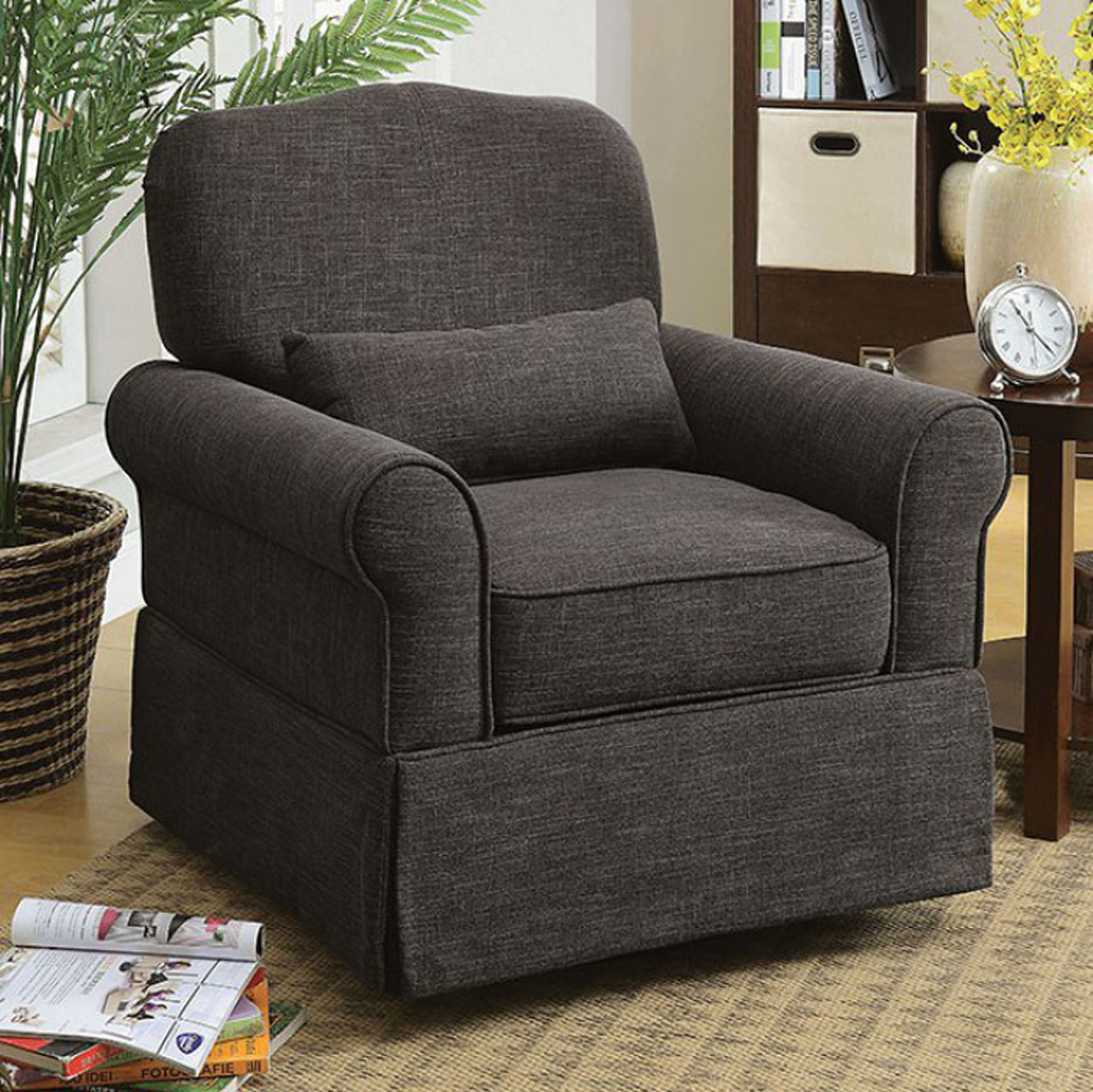 Transitional 360 Swivel & Rocker Chair, Dark Gray
